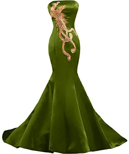 Sunvary Embroidery Mermaid Satin Strapless Wedding Reception Prom Evening Dresses Size 22W- Olive Green