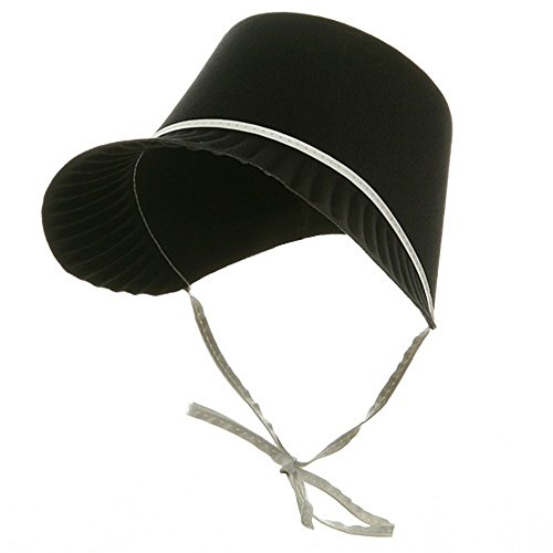 [Black Permafelt Pilgrim Thanksgiving Costume Bonnet] (Mormon Halloween Costumes)