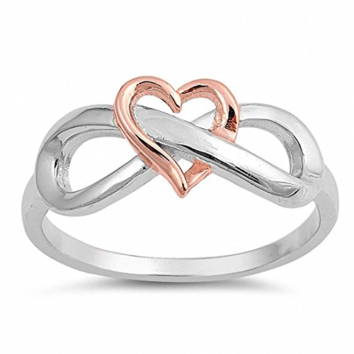Blue Apple Co. Heart Infinity Ring Band Two Tone 925 Sterling Silver Rose Tone Infinity Heart, Size-4