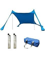 Tenda pop-up portátil, abrigo solar, à prova d'água, proteção UV, tenda com 2 postes de alumínio, 4 âncoras de saco de areia, para parques de praia, camping e ar livre (azul/verde