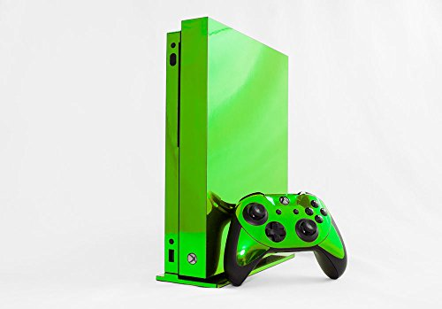 Microsoft Xbox One X Skin (XB1X) - NEW - LIME CHROME MIRROR system skins faceplate decal mod by System Skins