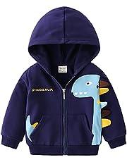 NautySaurs Boys Zip-up Dinosaur Hoodies Toddler Light Jackets Zipper Sweatshirt