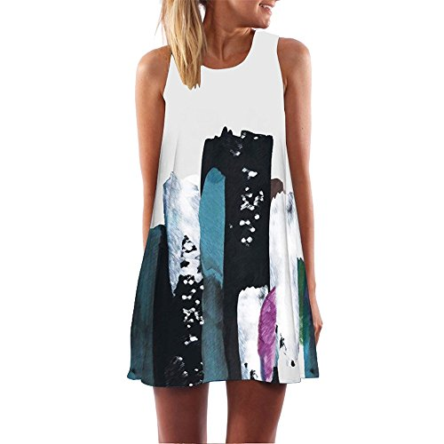 iYBUIA Summer Vintage Boho Women Loose Summer Sleeveless 3D Floral Print Bohe Tank A-Line Mini Dress(White,M) -