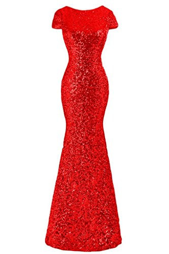 Cap Evening Olidress Sequins Red US8 Sleeve Mermaid Bridesmaid Women's Dress 4xBnqBRS