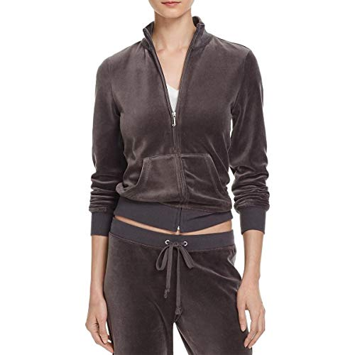 Juicy Couture Black Label Robertson Velour Zip Track Jacket (Top Hat Grey, X-Small) - Juicy Couture Designer Hats