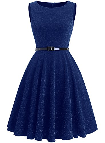 Price comparison product image Dressystar 0019 Glitter Vintage 1950s Rockabilly Cocktail Party Dresses A Line with Belt S Royal Blue