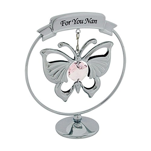Crystocraft Silver Plated Hanging Mobile Butterfly made with Swarovski Crystals on Circular Base Ornament