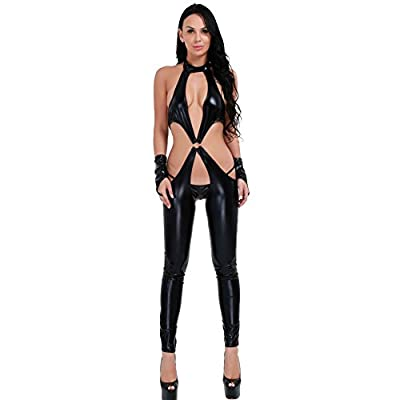 YiZYiF Women's Black Leather Low Cut Catsuit Crotchless Bodysuit Lingerie Costume