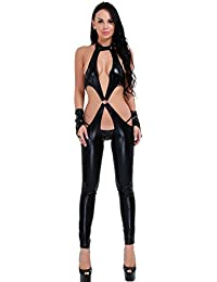 Women's Sexy Faux Leather Crotchless Role Play Costume Halter Lingerie Teddies Teddy