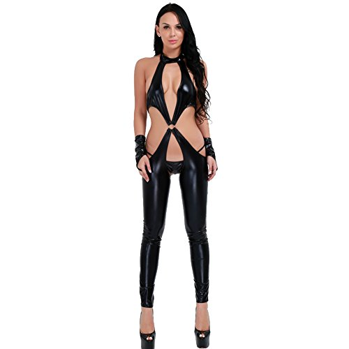 CHICTRY Women's Faux Leather Crotchless Cosplay Bodysuit Outfit Lingerie Clubwear