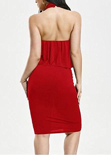 Clubwear Dos Nu Solide Femmes Coolred Ourlet Volanté Rouge Robe Moulante