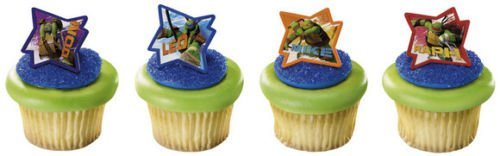 CakeDrake TEENAGE Mutant NINJA TURTLES (24) Cake CUPCAKE Pop RINGS Party FAVOR Toppers -