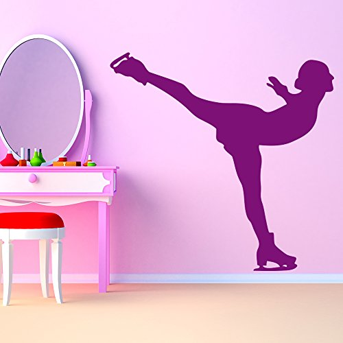 Figure Female Metallic (Figure Skating Pose Female Ice Skating Wall Stickers Sports Decor Art Decals available in 5 Sizes and 25 colors Medium Gold Metallic)