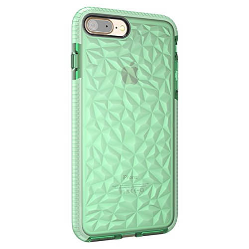 (Seabaras iPhone 7 Case 3D Diamond Pattern Textured Back Flexible Lightweight Protective TPU Shockproof Cover for Apple iPhone 7 (Green))