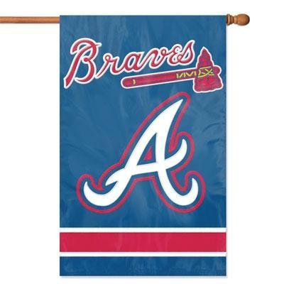 Atlanta Braves 28x44 Premium Embroidered Applique Banner Outdoor Flag Baseball (Atlanta Braves Banner Applique)