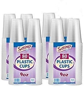 Settings Clear Plastic Disposable Cups, 9oz, 320 Count