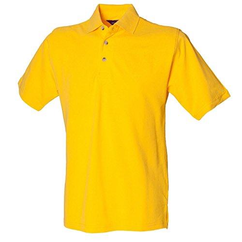 Henbury Klassisches schwere Pique Polo Shirt H100gelb Größe XXL
