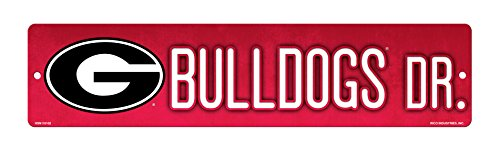 NCAA Georgia Bulldogs 16-Inch Plastic Street Sign Décor