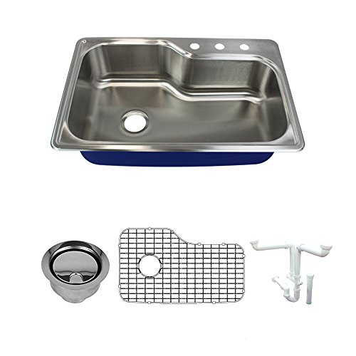 Transolid K-MTSO33229-3 Meridian 3-Hole Drop-in Single Bowl 16-Gauge Stainless Steel Kitchen Sink Kit, 33-in x 22-in x 9-in, Brushed Finish