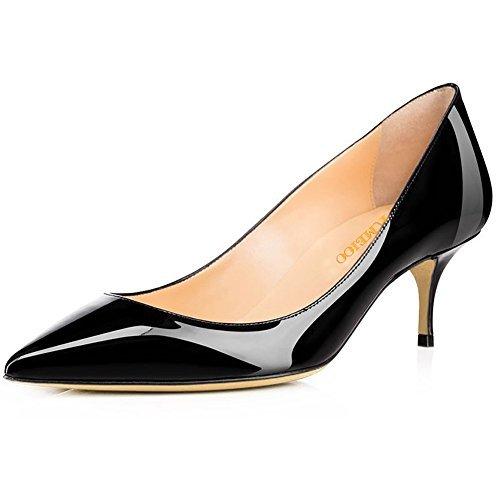 Kmeioo Pumps for Women, Women's Slip On Kitten Heels Pointed Toe Low Heels Office Pumps-Black 9M