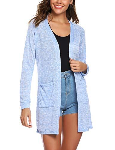 (URRU Women's Casual Open Front Knit Long Cardigan Sweaters with Pockets Light Blue XL)