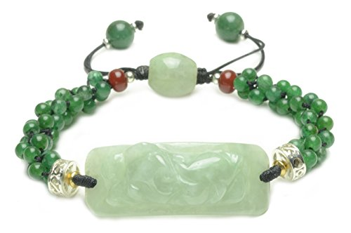 legant Hand Carved Green Jade Tiger Amulet Bracelet-Feng Sui Energy Jewelry (Imperial Jade Jewelry)
