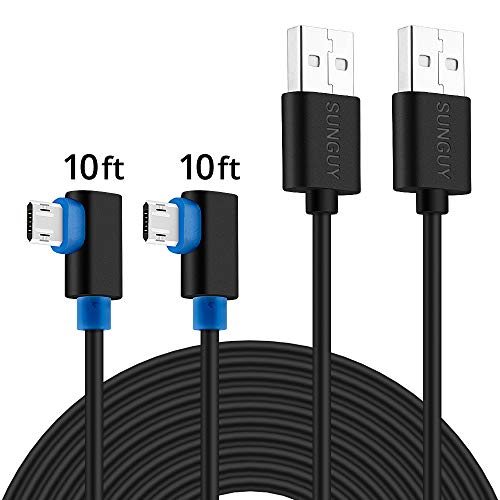 90 Degree Micro USB Cable,SUNGUY (2-Pack,10ft x2) Right Angle Reversible Micro USB Cable for PS4 & PS4 Pro/Slim,Dual Shock 4 and Xbox One Controller and Other Android Devices - Black