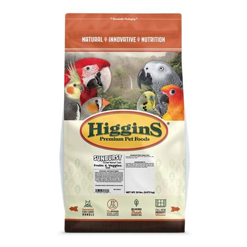 Higgins Sunburst Fruit & Veggie Small Hookbill, 20 Lb by Higgins