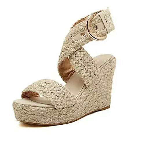 (JOYFEEL  Women's Criss-Cross Wide Band Espadrilles Wedge Shoes Ankle Strap Buckle High Chunky Heel Platform Sandals Beige)