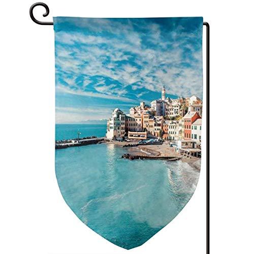 China Italian Charm - lsrIYzy Garden Flag,Panorama of Old Italian Fish Village Beach Old Province Coastal Charm Image,12.5x18.5 inch
