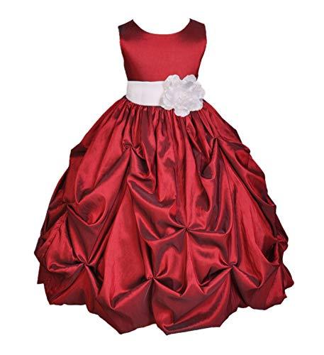 ekidsbridal Taffeta Pick-Up Bubble Apple Red Flower Girl Dresses Recital Dress Birthday Girl Dresses Communion Dress 301S 8