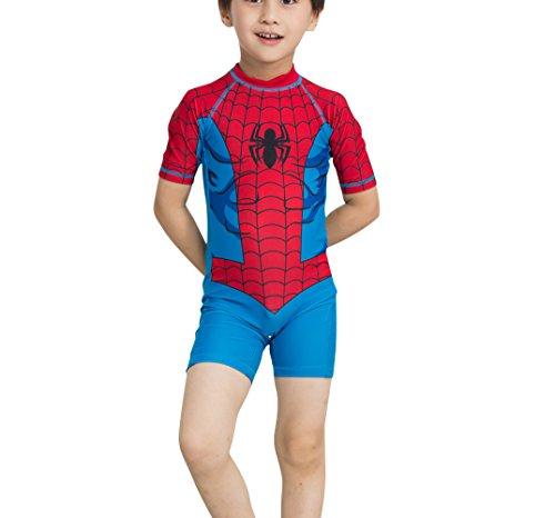TangB Baby Boys Swimwear Spider Pattern with Hat Blue (Halloween Costume Pool Boy)