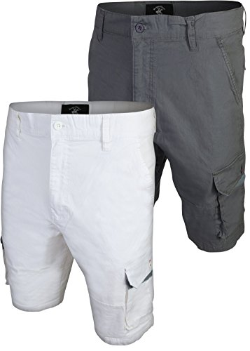 - Beverly Hills Polo Club Men\'s Twill Cargo Short (2 Pack), White/Grey, Size 30'