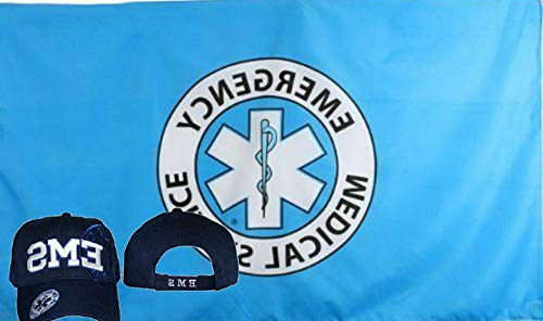 Hebel Wholesale Combo 3x5 Emergency Medical Service Flag EMS Blue Shadow Hat Cap | Model FLG - 1132