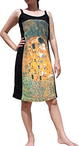 RaanPahMuang Gustav Klimt The Kiss Spaghetti Sac Dress, Medium