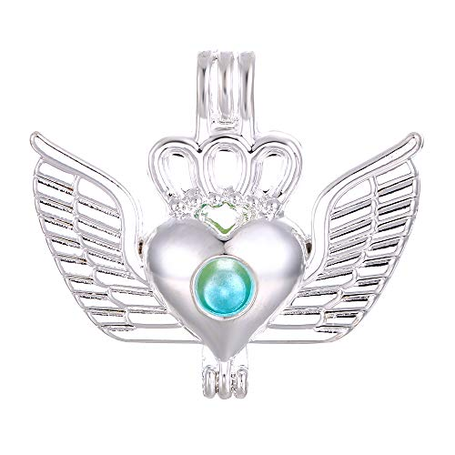 10pcs Flying Heart Crown Pearl Cage Bright Silver Beads Cage Locket Pendant Jewelry Making Supplies-for Oyster Pearls, Essential Oil Diffuser, Fun Gifts (Flying Heart Crown) ()