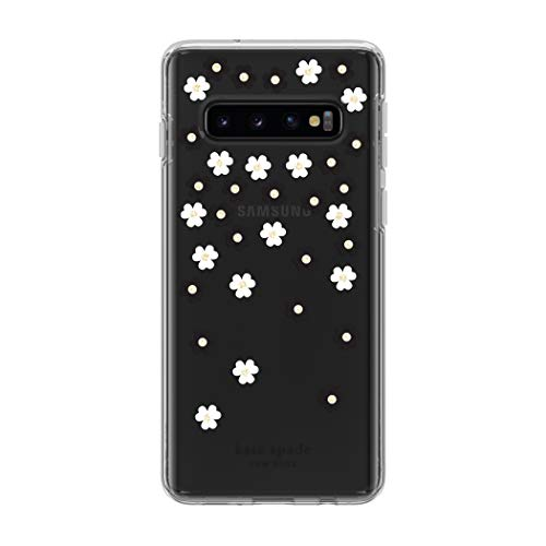 - Kate Spade New York Phone Case | for Samsung Galaxy S10 | Protective Clear Crystal Hardshell Phone Cases with Slim Floral Design and Drop Protection - Scattered Flowers Black/White/Gems