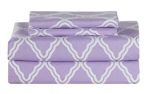 All American Collection New Microfiber 4 Piece Sheet Set Geometric Cone Design Printing Full, Lavender