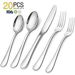 SHARECOOK Silverware, 20-Piece Stainless Steel Flatware Round Edge Kitchen Utensil Set Service for 4, Dishwasher Safe