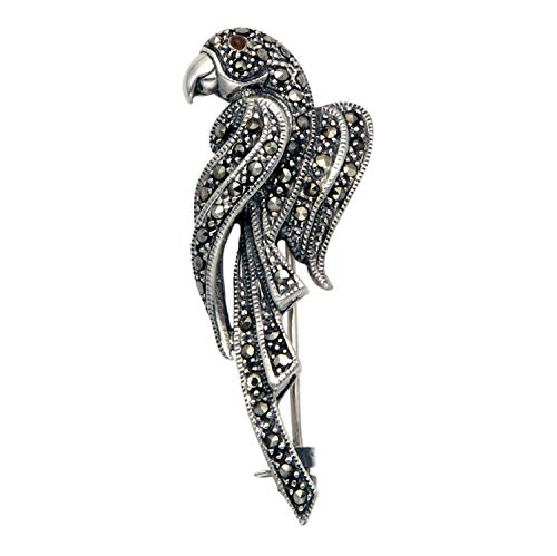 Wild Things Sterling Silver & Marcasite Art Deco Parrot Pin