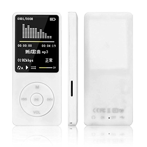 DZT1968 8GB 70 Hours 3.5mm audio jack Playback Fast-charge MP3 MP4 Lossless Sound Music Player FM Recorder TF Card (White)