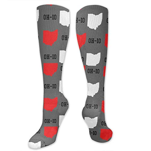 Compression Socks for Women Men Nurses Runners - Best Medical Stocking for Travel, Maternity, Running, Athletic, Varicose Veins - New Oh-io State Map Gray