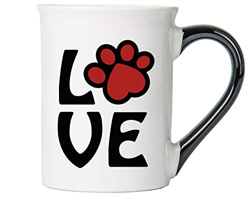 - Cottage Creek Dog Mug LOVE Mug Large 18 Ounce Ceramic Paw Print Dog Coffee Mug/Dog Lover Gifts [White]