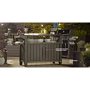 Keter Unity XL Indoor Outdoor Entertainment BBQ Storage Table/Prep Station/Serving Cart with Metal Top, Brown