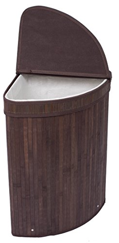 BirdRock Home Corner Laundry Hamper with Lid and Cloth Liner | Bamboo | Espresso | Easily Transport Laundry Basket | Collapsible Hamper | String Handle