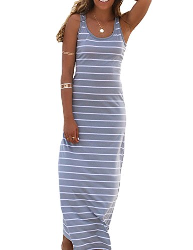 PERSUN Women's Stripe Bodycon Tank Dress,Grey,Medium