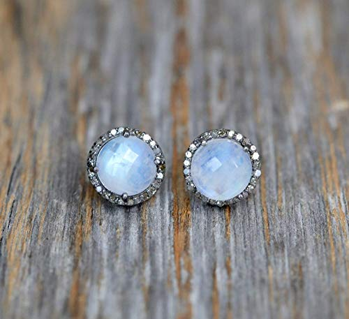 Rainbow Moonstone Diamond Round Halo Stud Earring Sterling Silver June birthstone - 12mm (Diamond Earrings Moonstone)