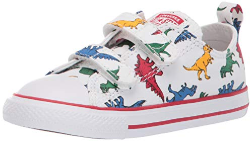Converse Boys Infants' Chuck Taylor All Star Dinoverse 2V Low Top Sneaker, White/Enamel Red/Totally Blue 7 M US Toddler (All Star Converse For Baby Boy)
