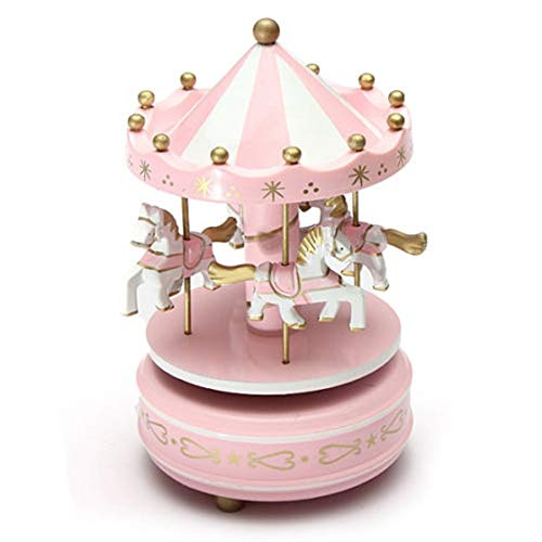 Carousels - TOOGOO(R)Musical carousel horse wooden carousel music box toy child baby pink game