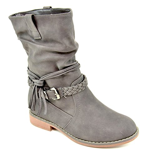 King Shoes Women's Slouch Boots Grey c3Ugk6Pmj